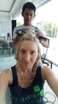 Getting my hair done for the Photo & Video Shoot.